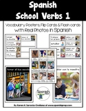 Spanish School Verbs 1 Vocabulary Posters & Flashcards wit