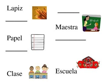 Spanish School Vocab Trace and Copy