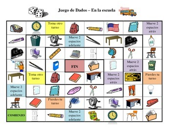 Spanish School Vocabulary Board Game