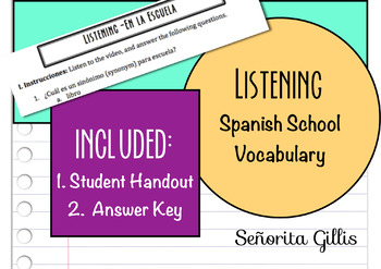 Spanish School Vocabulary Listening Activity
