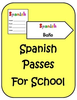 Spanish Back to School Hall Class Bathroom Passes