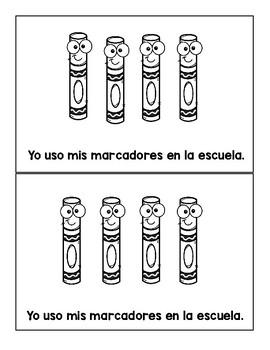 Spanish School supplies- Write the Room & Emergent Reader, Materiales escolares