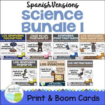 Spanish Science Bundle & Boom Cards w Audio | Distance Learning
