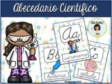 Spanish Science Cursive Alphabet Posters - Abecedario Científico Cursivo