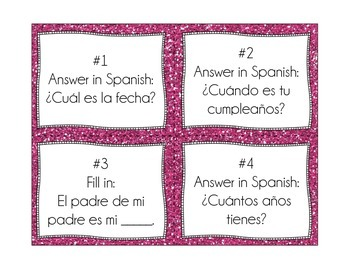 Spanish Scoot Task Cards - Family and Dates with Possession