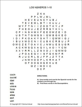 Spanish Scrambled Number 1-10 Word Search -Realidades-Para Empezar