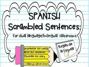 Spanish Scrambled Sentences: Writing About Series BUNDLE