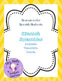 Spanish Scrambles -- Animals, Transportation, Food