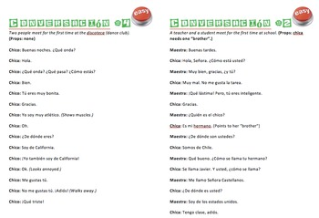 Spanish Scripted Skits - ¿Quien es? - 4 Differentiated Guided Dialogs