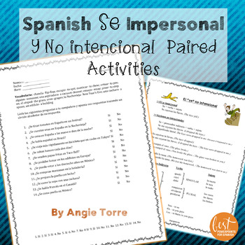 Spanish Se impersonal and no intencional Paired Activities