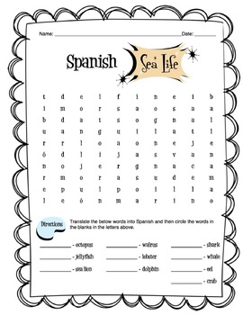 Spanish Sea Life Worksheet Packet