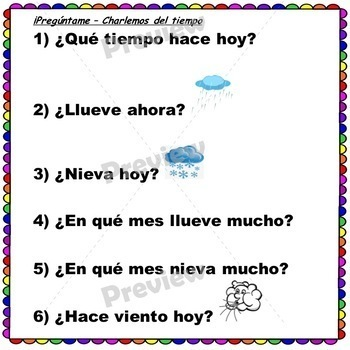 Spanish Seasons, Weather, Days, Dates, and Months QUESTIONS!