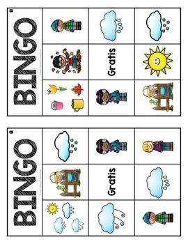 Spanish Seasons and Weather: Bingo Game