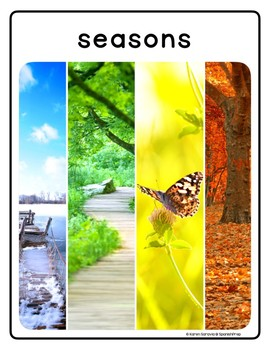 Seasons and Weather: Vocabulary Posters & Flip Cards in English