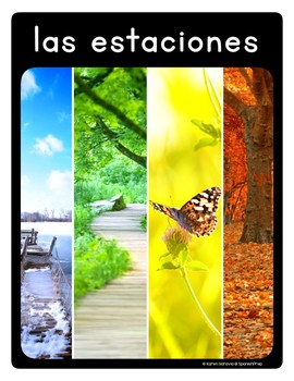 Spanish Seasons and Weather Vocabulary Posters & Flashcards in Spanish