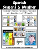 Spanish Seasons and Weather Vocabulary Posters & Flashcard