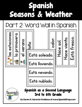 Spanish Seasons and Weather: Word Wall