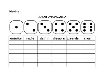 Spanish Second Grade Roll-A-Word