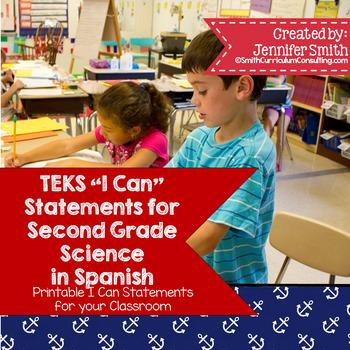 "Spanish Second Grade Science TEKS ""Yo Puedo"" Statements"