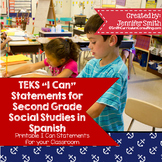 "Spanish Second Grade Social Studies TEKS ""Yo Puedo"" Statements"