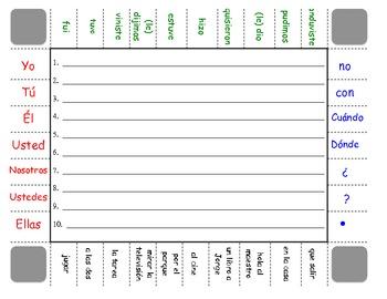 Spanish Irregular Preterite Sentence Formation Practice Activity