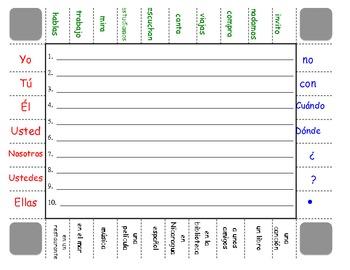 Spanish Regular AR Verbs Sentence Formation Practice Activity
