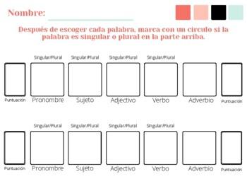 Spanish Sentence Frames Worksheet