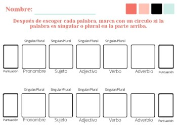 Spanish Sentence Frames Worksheet
