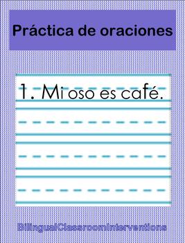 Spanish Sentence Writing With Pictures/Escritura de oraciones c/dibujos