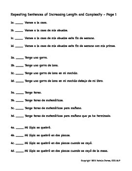 Spanish Sentences of Increasing Length and Complexity for