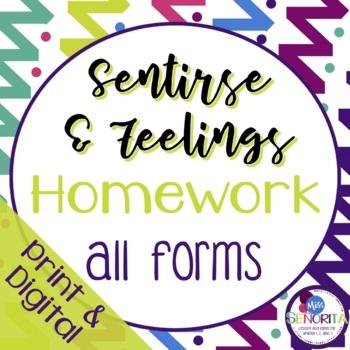 Spanish Sentirse & Feelings Homework - all forms