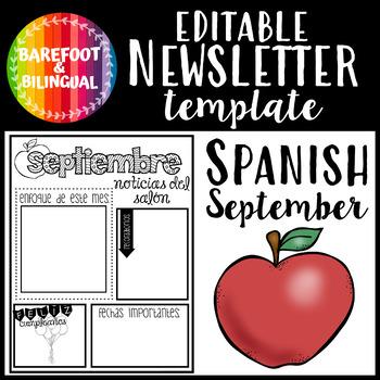 Spanish September Class Newsletter EDITABLE!