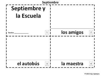 Spanish September and School 2 Emergent Reader Booklets