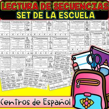 Spanish Sequence Reading - The School - (15 Stories and 15 Comprehension Sheets)