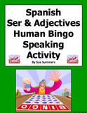 Spanish Ser & Adjectives Human Bingo Game Speaking Activity & Follow-Up