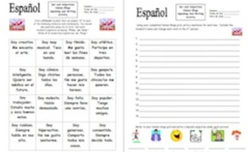 Spanish Ser & Adjectives Human Bingo Game Speaking Activity & Follow-Up