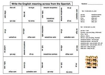 Spanish Ser Conjugations 4 x 4 Matching Squares Puzzle