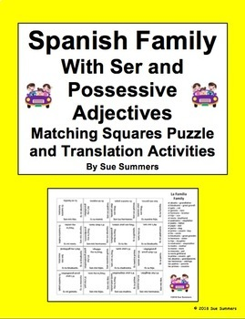 Spanish Ser, Family, and Possessive Adjectives Matching Squares Puzzle