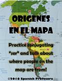 Spanish Ser Practice with Origins & Map!