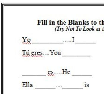 Spanish Ser Verb Rap & Fill in the Blank Activity