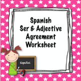 Spanish Ser and Adjective Agreement worksheet