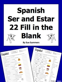 Spanish Ser and Estar 22 Fill in the Blank Practice Worksheet by ...