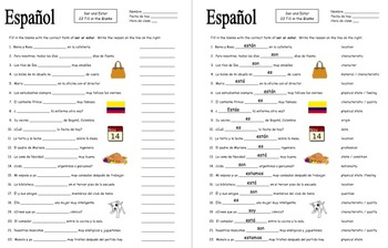 spanish ser and estar 22 fill in the blank practice worksheet by sue summers. Black Bedroom Furniture Sets. Home Design Ideas
