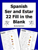 Spanish Ser and Estar 22 Fill in the Blank Sentences Practice Worksheet