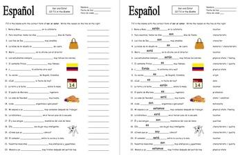 Spanish Ser and Estar 22 Fill in the Blank Sentences Practice Worksheet