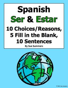 spanish ser and estar 3 part practice worksheet by sue. Black Bedroom Furniture Sets. Home Design Ideas