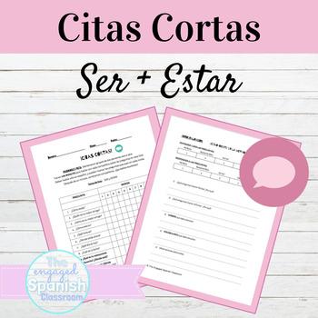 Spanish Ser and Estar Citas Cortas Speaking Activity