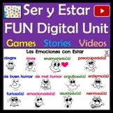 Spanish Ser & Estar Digital Unit - Stories, Videos, Quizzes, Songs & Activities