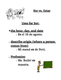 Spanish Ser and Estar Notes or Practice Worksheet