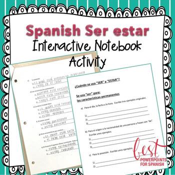 Spanish Ser estar Interactive Notebook Activity
